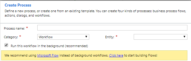 Dynamics Workflow creation modal box